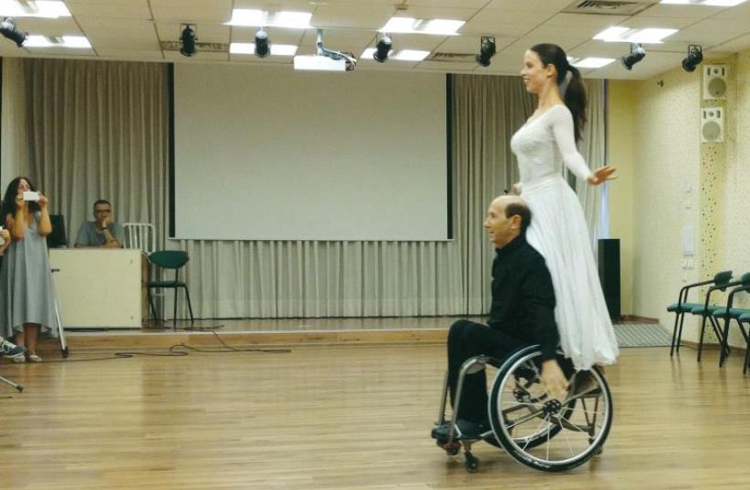 A dance performance by Adam Greenfeld and Tal Galor at Beit Halochem, Tel Aviv (photo credit: ARIANE MANDELL)