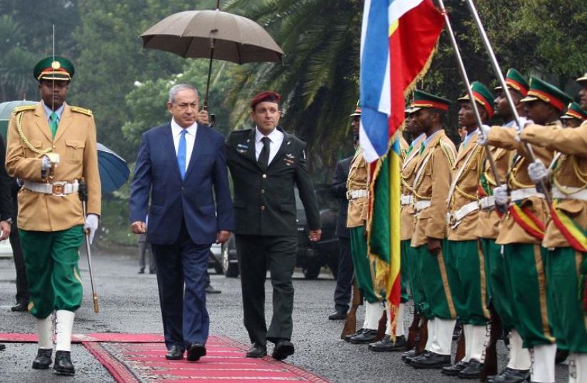 PM Netanyahu arrives in Ethipoia (photo credit: REUTERS)