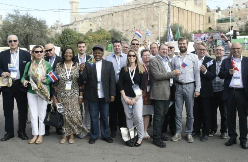 MEMBERS OF EUROPEAN PARLIAMENT visit the Cave of Patriarchs in Hebron yesterday. (photo credit: AVI HAYOUN)