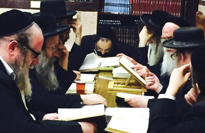 MEMBERS OF the Baal Hatanya shul engage in Mishnayot study. (photo credit: MAAYAN JAFFE-HOFFMAN)