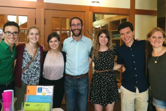 Daniela Amir, (third from left), who recently started to serve as an Israel Fellow together with students (photo credit: Courtesy)