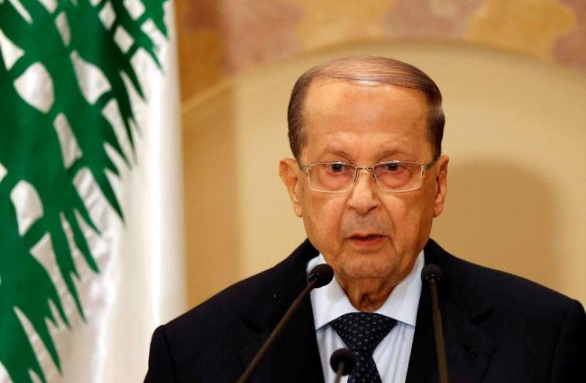 Christian politician and FPM founder Michel Aoun talks during a news conference in Beirut, Lebanon October 20, 2016 (photo credit: REUTERS)
