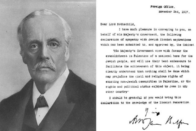 Lord Arthur James Balfour and the text of the Balfour Declaration (photo credit: WIKIMEDIA)