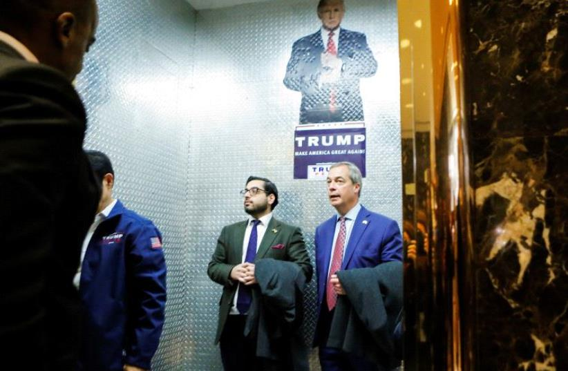 Nigel Farage, leader of the United Kingdom Independence Party (UKIP), arrives at Republican president-elect Donald Trump's Trump Tower in New York (photo credit: REUTERS)