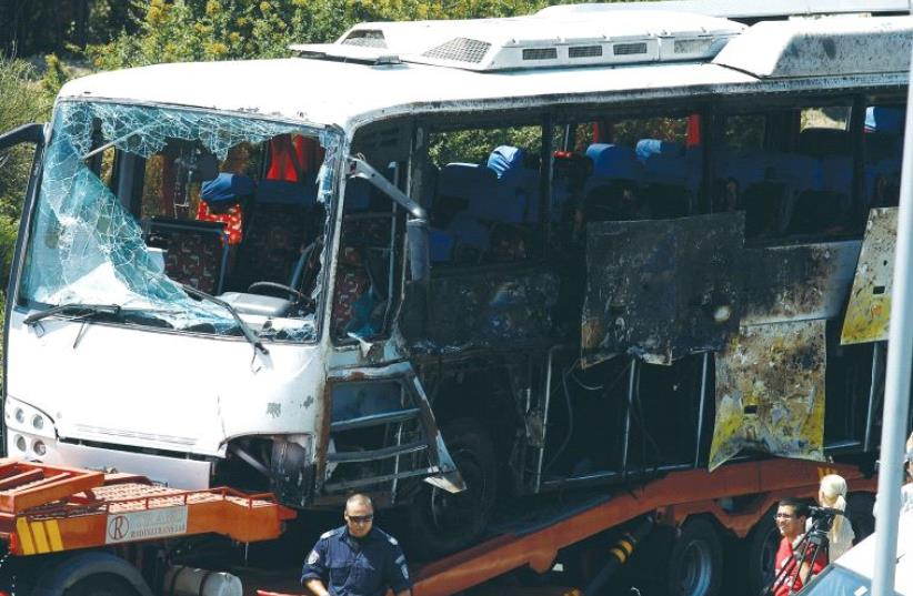 Terrorists attackted this bus in Burgas on July 18, 2012, killing five Israeli vacationers and their Bulgarian driver and wounding 32 others. (photo credit: REUTERS)