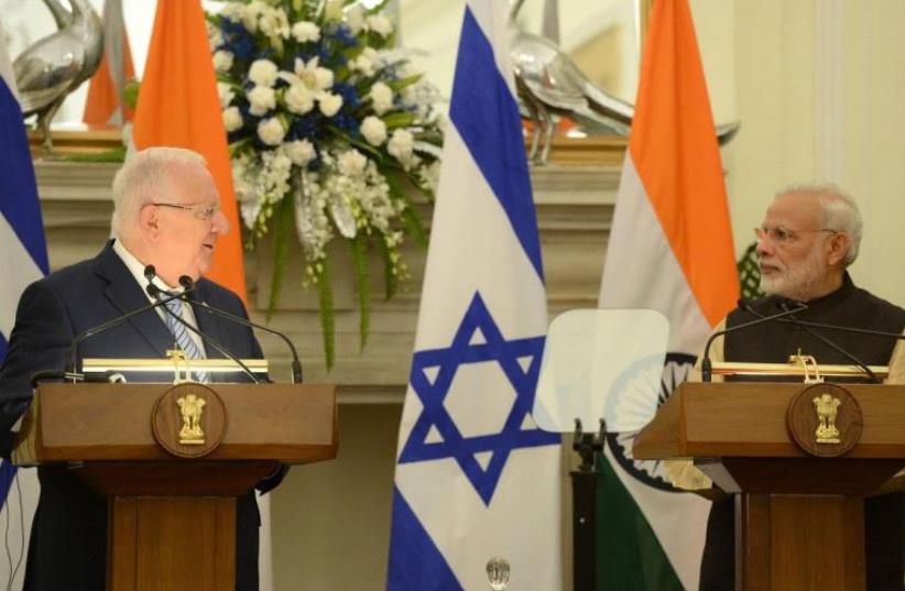 President Reuven Rivlin meets with Indian Prime Minister Narendra Modi (photo credit: Mark Neiman/GPO)
