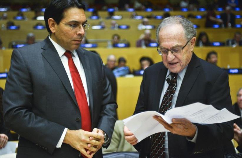 Danny Danon and Alan Dershowitz  (photo credit: HAREL RINTZLER)