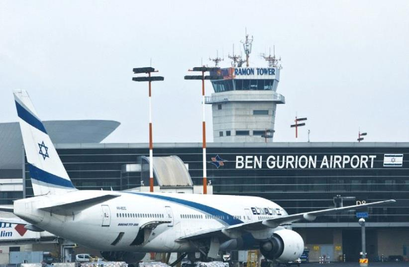 AN EL AL Boeing 777 aircraft is seen at Ben-Gurion Airport (photo credit: REUTERS)