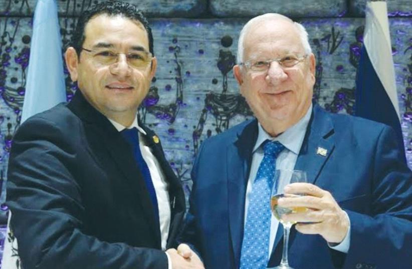 GUATEMALAN PRESIDENT Jimmy Morales with President Reuven Rivlin.GUATEMALAN PRESIDENT Jimmy Morales with President Reuven Rivlin. (photo credit: MARK NEYMAN/GPO)