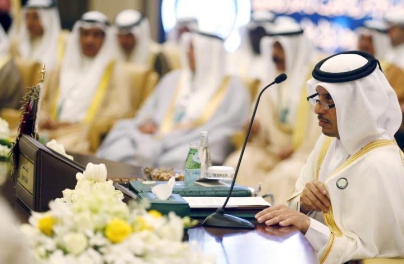 Bahrain's Interior Minister Rashid Bin Abdullah Bin Hamad al-Khalifa attends a meeting of Gulf Cooperation Council (GCC) Interior Ministers [File April 2016] (photo credit: REUTERS)