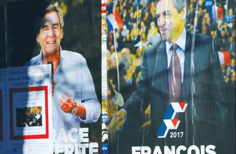 CAMPAIGN POSTERS of François Fillon. (photo credit: REUTERS)