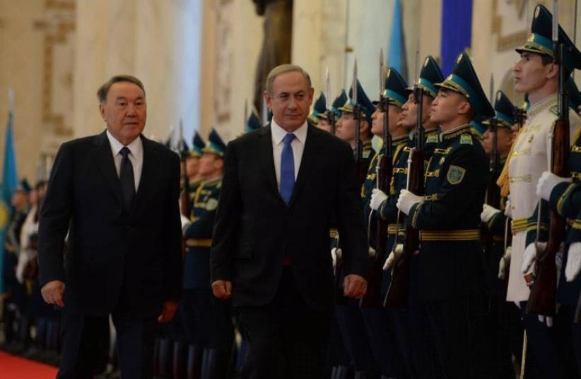Prime Minister Benjamin Netanyahu with Kazakhstan President Nursultan Nazarbayev (photo credit: CHAIM TZACH/GPO)