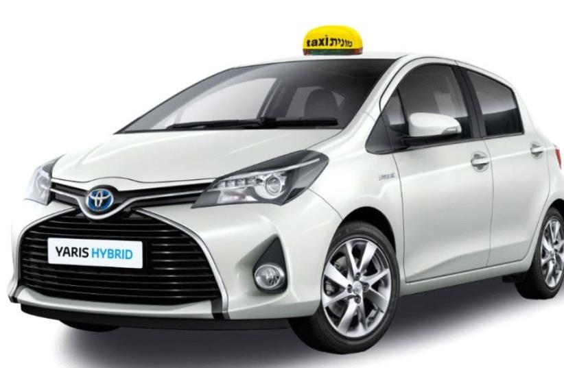 A depiction of a hybrid Israeli taxi of the model type Toyota Yaris (photo credit: ENVIRONMENT PROTECTION MINISTRY)
