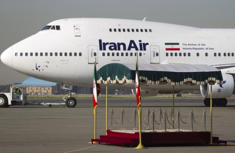 The IranAir Boeing 747SP aircraft with Iran's President Mahmoud Ahmadinejad onboard is pictured before leaving Tehran's Mehrabad airport en route to New York September 19, 2011. (photo credit: REUTERS)