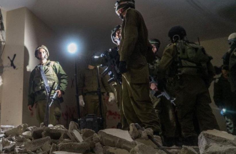 IDF carries out home demolition in Kfar Akab in West Bank (photo credit: COURTESY IDF SPOKESMAN'S OFFICE)