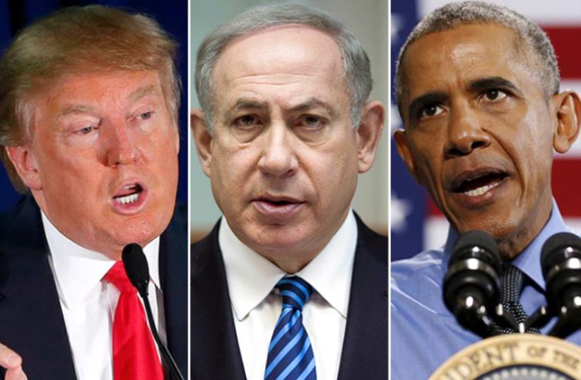 Trump, Netanyahu and Obama (photo credit: REUTERS)
