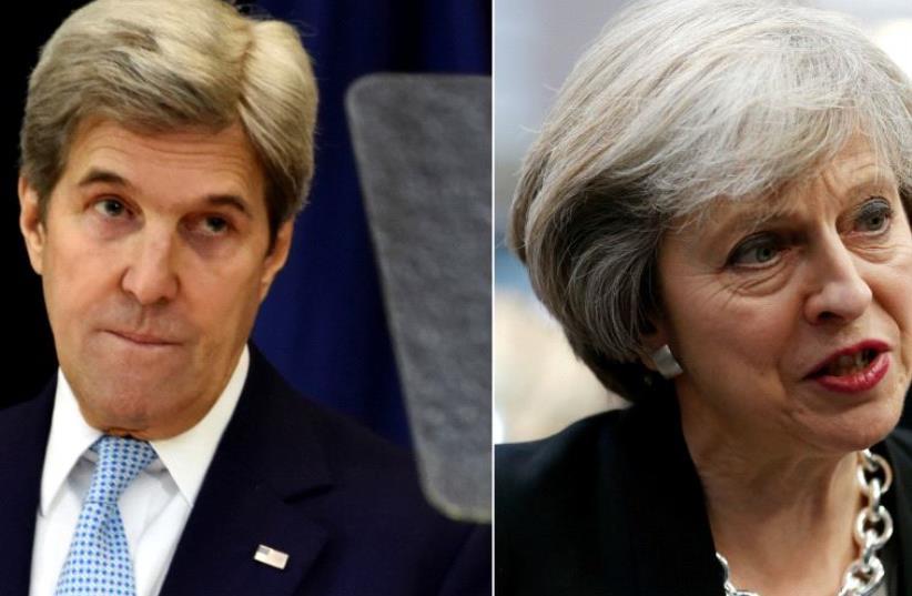 Theresa May and John Kerry  (photo credit: REUTERS)
