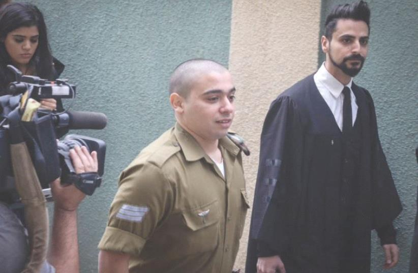 SGT. ELOR AZARIA appears in the Jaffa Military Court in November. (photo credit: FLASH90)