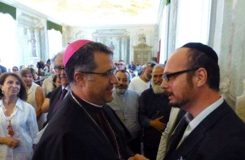 Palermo Archbishop Corrado Lorefice (left) with Shavei Israel's emissary to Sicily, Rabbi Pinhas Punturello (right). (photo credit: SHAVEI ISRAEL)