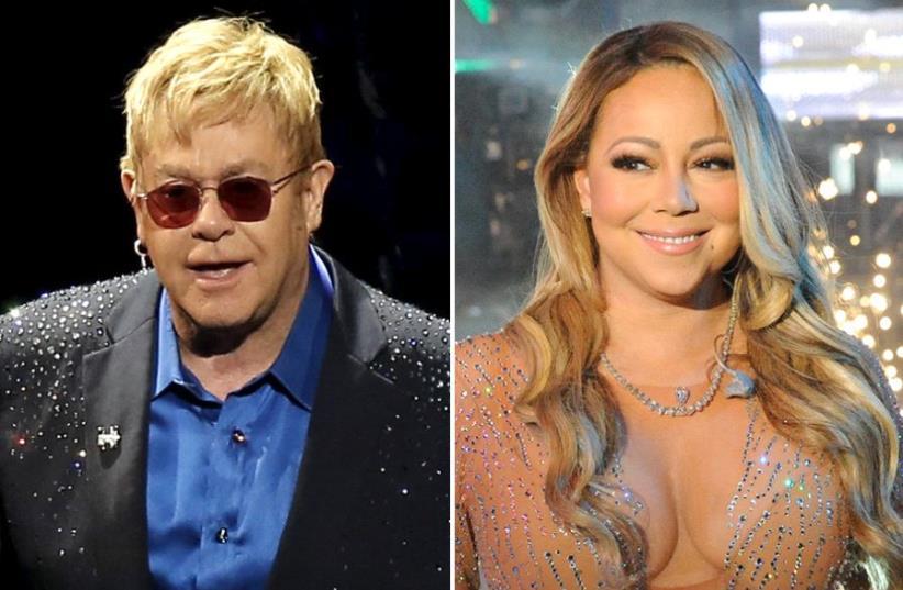 Elton John and Mariah Carey (photo credit: REUTERS)