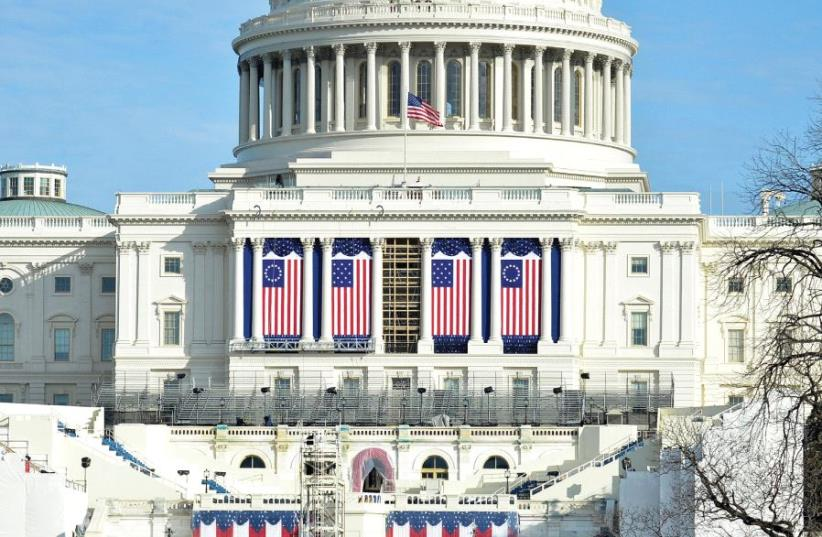 PREPARATIONS ARE FINALIZED on the West Front of the US Capitol, where Donald J. Trump will be sworn in as America's 45th president on Friday (photo credit: REUTERS)