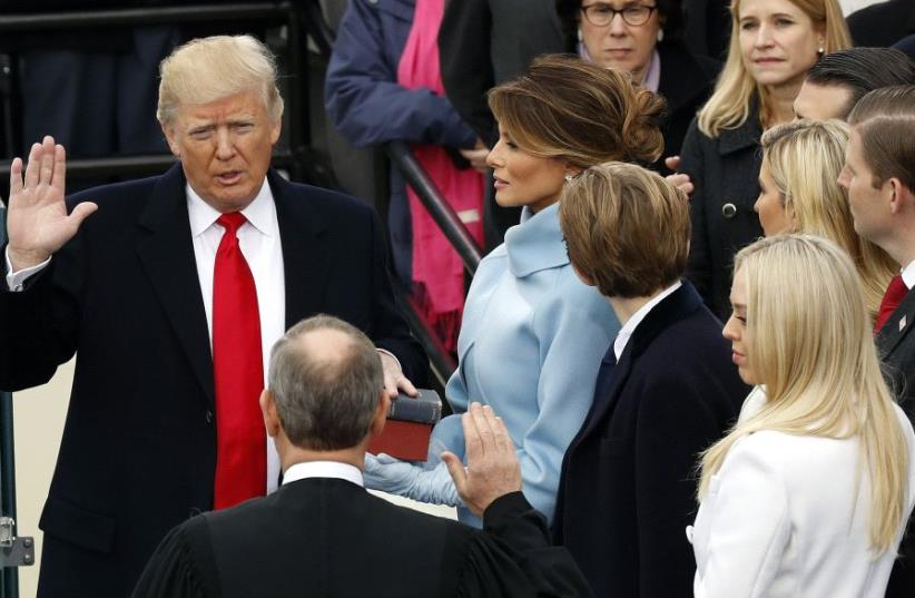 Donald Trump is sworn in as the 45th president of the United States of America. (photo credit: REUTERS)
