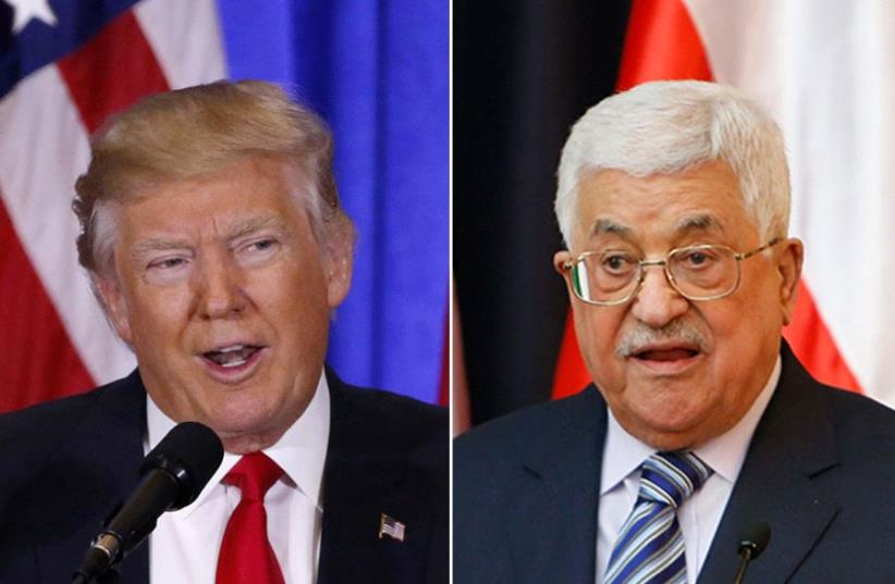 Donald Trump (L) and Mahmoud Abbas (R) (photo credit: REUTERS)