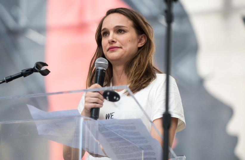 Actor Natalie Portman speaks onstage at the Women's March in Los Angeles on January 21, 2017 in Los Angeles, California (photo credit: EMMA MCINTYRE / GETTY IMAGES NORTH AMERICA / AFP)