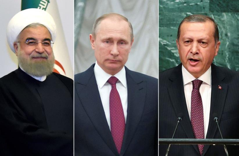 Rouhani, Putin and Erdogan (photo credit: REUTERS)