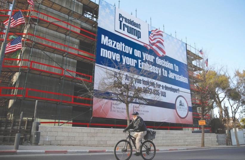 A SIGN calls on US President Donald Trump to move the US Embassy to Jerusalem. (photo credit: REUTERS)