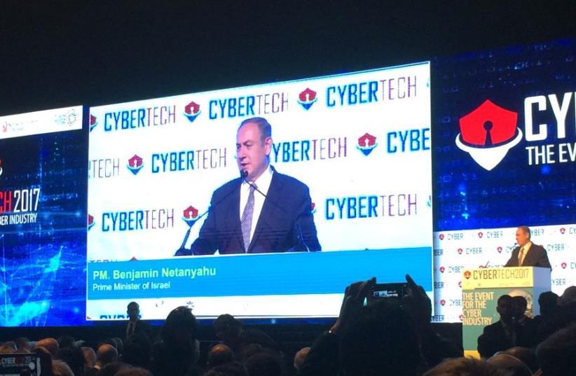 Benjamin Netanyahu speaking at the 2017 Cybertech Tel Aviv conference (photo credit: SHARON UDASIN)