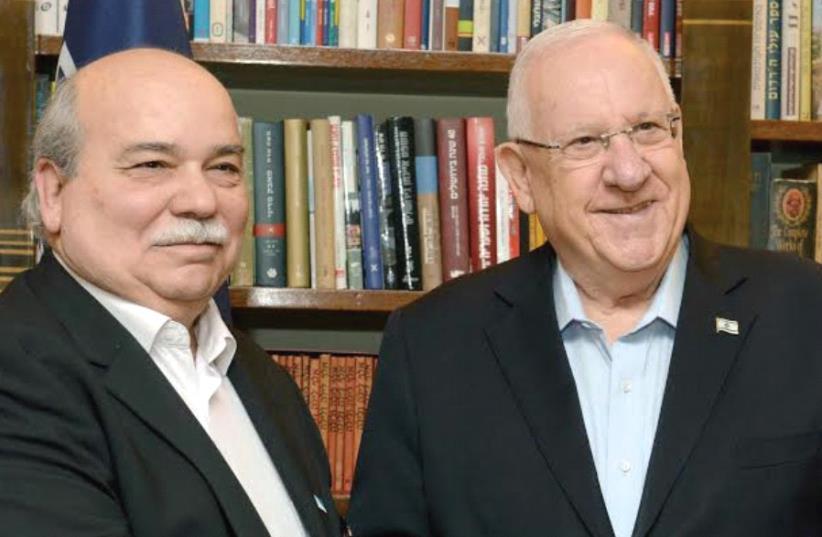 Nikos Voutsis , president of the Hellenic parliament, poses with President Reuven Rivlin. (photo credit: MARK NEYMAN / GPO)
