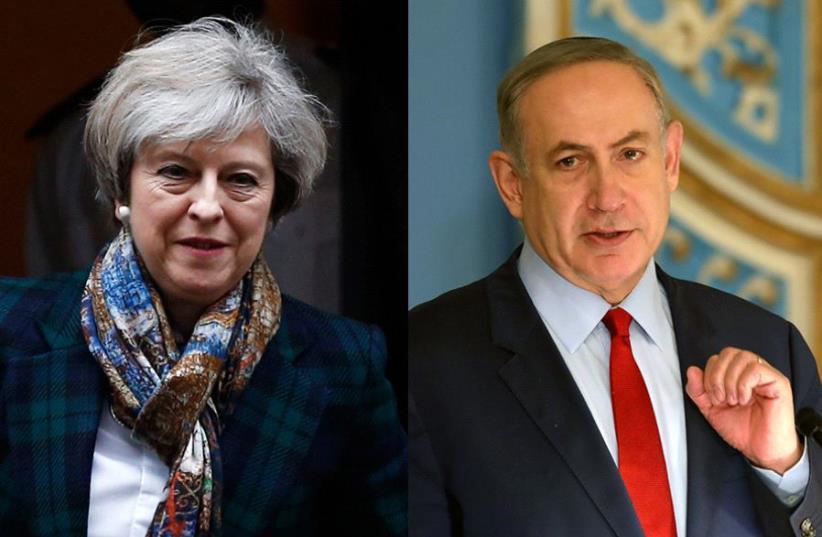 Netanyahu and May (photo credit: GALI TIBBON / AFP,REUTERS)