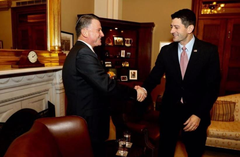 Knesset speaker Yuli Edelstein met with Paul Ryan, Speaker of the US House of Representatives, in Washington, February 1, 2017 (photo credit: SHMULIK ALMANI)