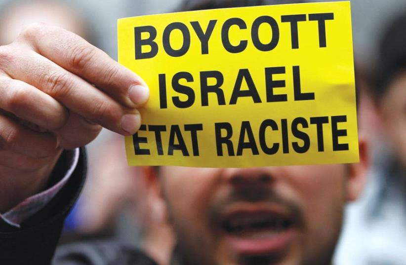 'INSTEAD OF fighting the Israeli army on the battlefield or killing civilians through acts of terrorism, the BDS movement seeks to destroy Israel's image in the eyes of the world.' (photo credit: REUTERS)