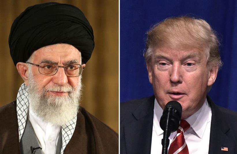 Trump and Khamenei (photo credit: AFP PHOTO / HO / KHAMENEI.IR,MANDEL NGAN / AFP)