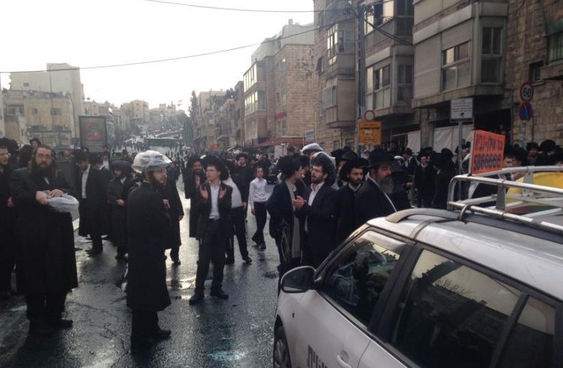 Haredi protest in Jerusalem (photo credit: JEREMY SHARON)