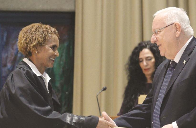 La nouvelle juge après sa nomination par le Président Rivlin (photo credit: GPO)
