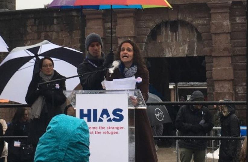 Rabbi Jennie Rosenn addressing the HIAS rally (photo credit: SAMANTHA KUPFERMAN / HIAS)