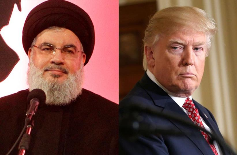 Nasrallah and Trump (photo credit: REUTERS)