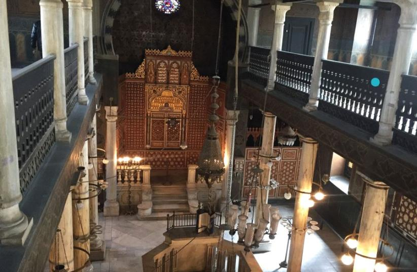 The interior of Cairo's Ben-Ezra Synagogue, where Maimonides's letters were found in 1896. (photo credit: SETH J. FRANTZMAN)