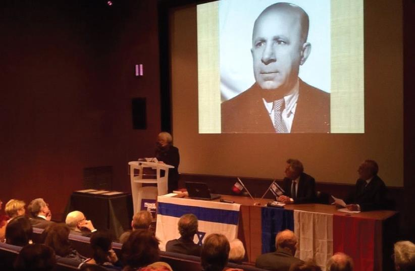 DR. TSILLA HERSHCO, a French-Jewish resistance expert, speaks at the B'nai B'rith ceremony yesterday in Paris. (photo credit: RINA BASSIST)