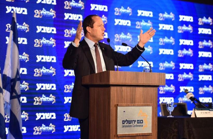 Jerusalem Mayor Nir Barkat speaks on February 14 at the Jerusalem Conference. (photo credit: ISRAEL BERDUGO)