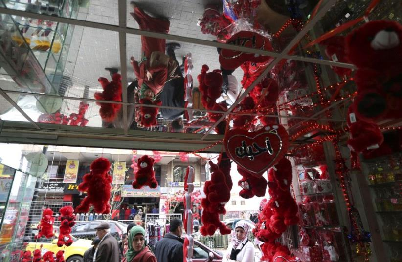 The entrance to a store selling gifts for Valentine's Day in Ramallah (photo credit: REUTERS)