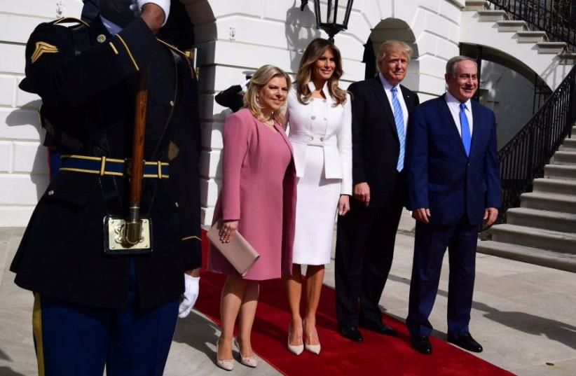 From Right: Sara Netanyahu , Melania Trump , Donald Trump and Benjamin Netanyahu outside of the White House on Feb. 15, 2017 (photo credit: AVI OHAYON - GPO)