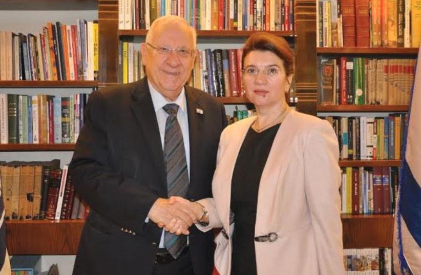 PRESIDENT REUVEN RIVLIN with Romanian Minister for the Diaspora Andreea Pastarnac. (photo credit: PRESIDENTIAL SPOKESPERSON OFFICE)