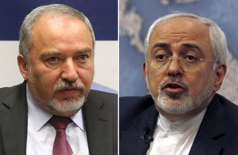 Liberman and Zarif (photo credit: MARC ISRAEL SELLEM,REUTERS)