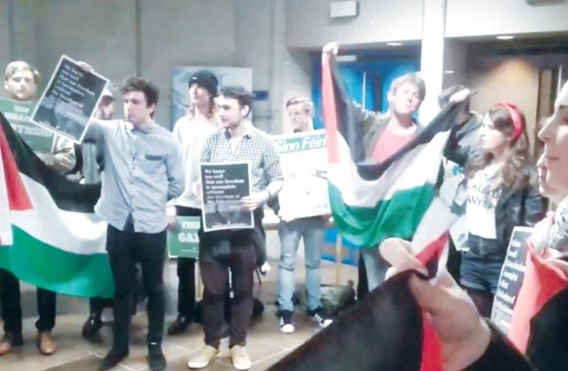 MEMBERS OF Students for a Just Palestine protest a scheduled lecture by Ambassador to Ireland Ze'ev Boker at Trinity College in Dublin, Ireland (photo credit: FACEBOOK)