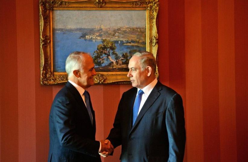 Turnbull and Netanyahu during the latter's official visit to Australia (photo credit: GPO)