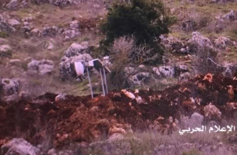 Hezbollah propoganda unit photo of alleged IDF spy gear planted in Lebanon (photo credit: ARAB MEDIA)